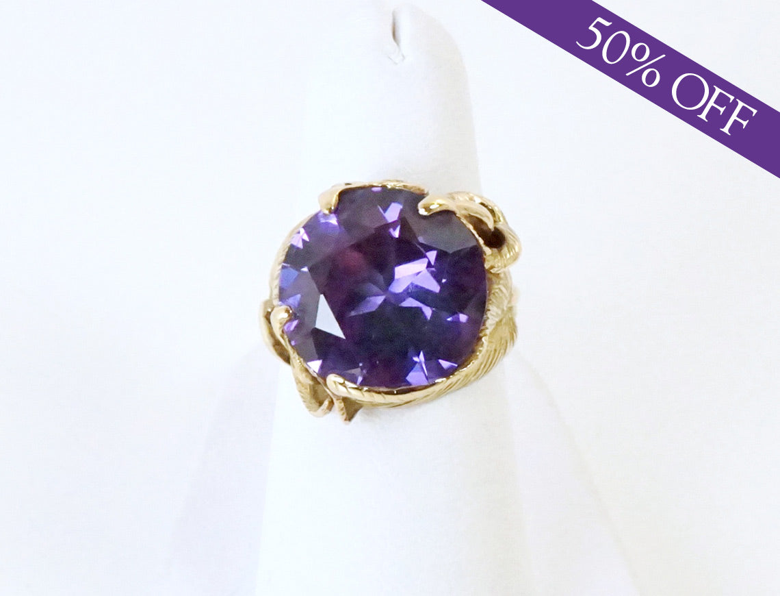 Synthetic color-change sapphire ring - ORIGINAL PRICE: $1100