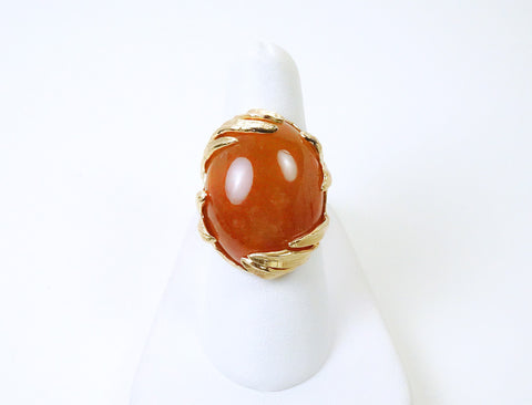Dramatic dark apricot jade ring