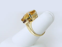 Citrine and rubellite ring