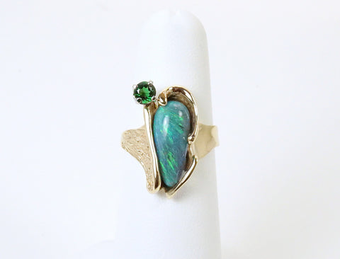 Boulder opal and chrome tourmaline ring