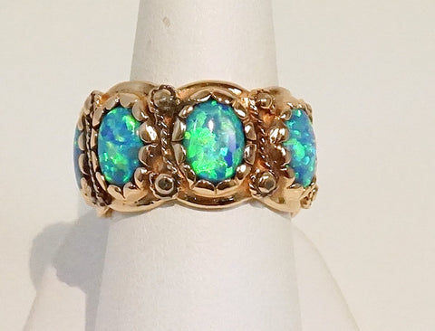 Opal band ring