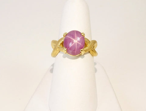 Fancy pink star sapphire ring