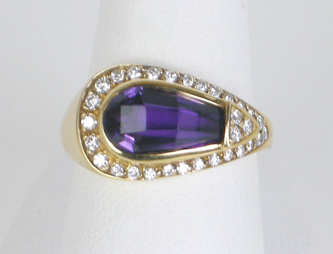 Unique amethyst and diamond ring