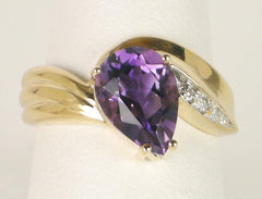 Pear Amethyst and Diamond Ring in Gold