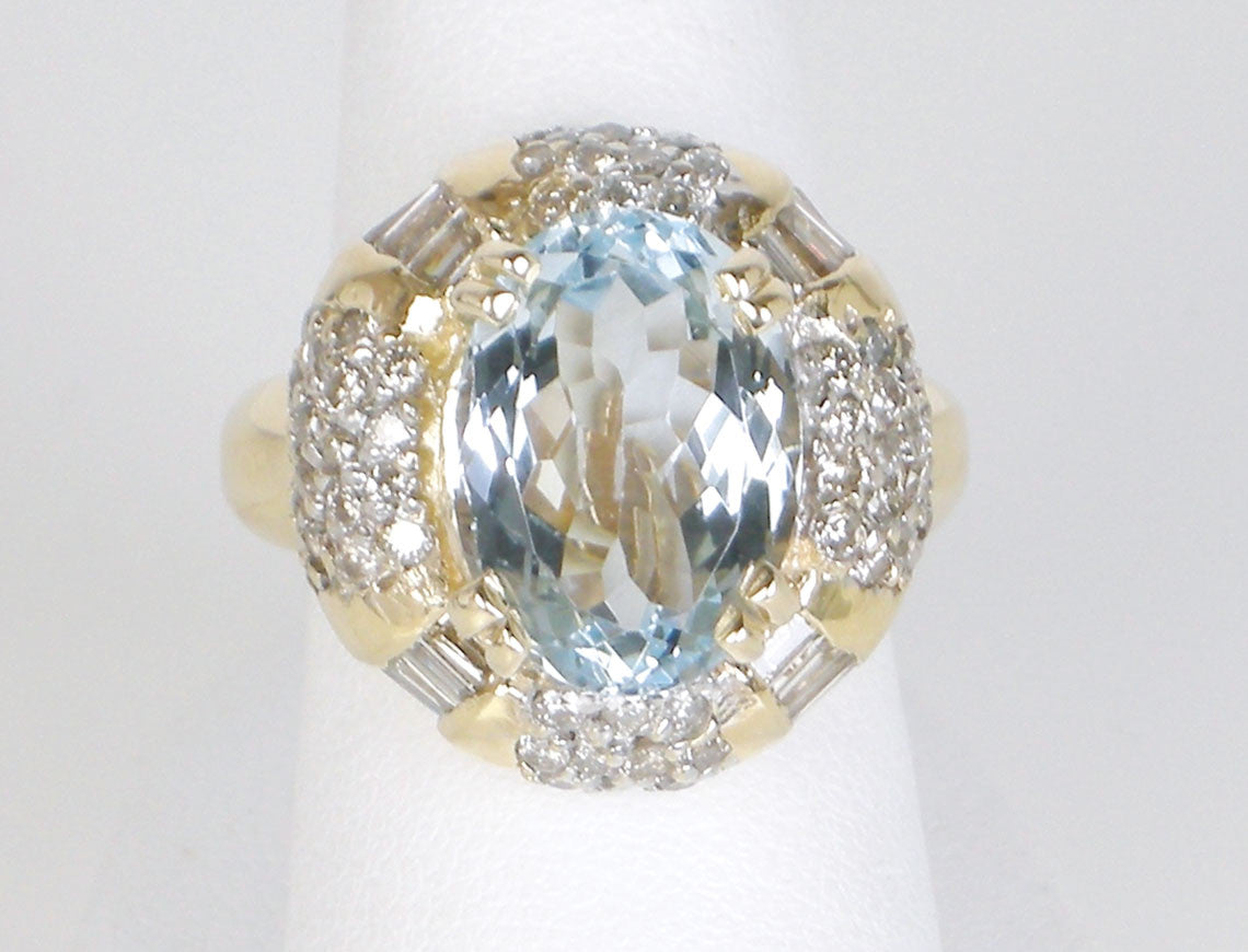 Unusual aquamarine and diamond ring