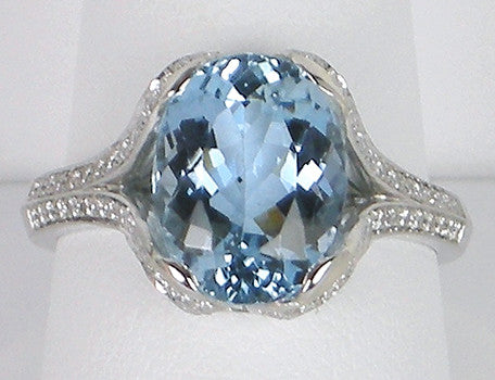 Aquamarine and diamonds in platinum