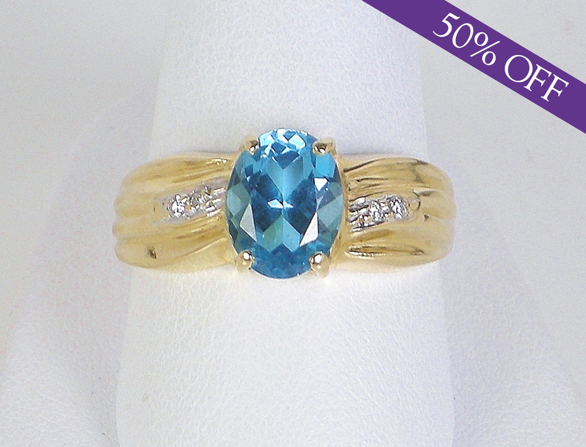 save diamond white blue and gold gemstone topaz in ring oval