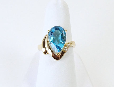 Bright blue topaz and diamonds