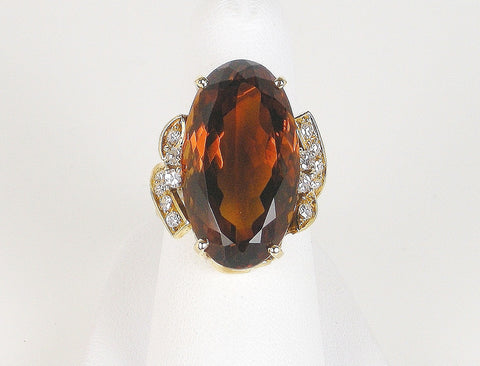 Bold citrine and diamond ring