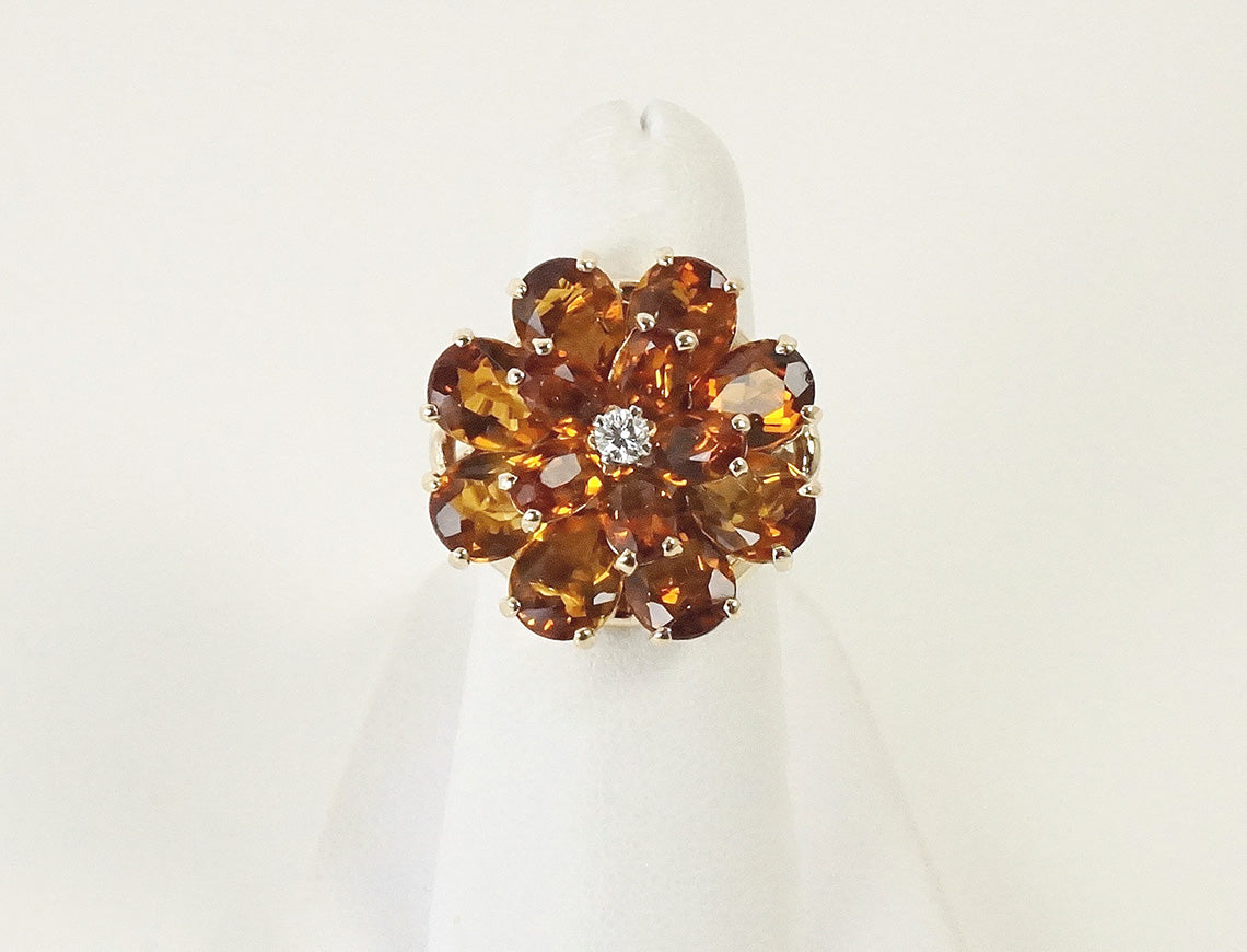 Citrine and diamond floral cluster