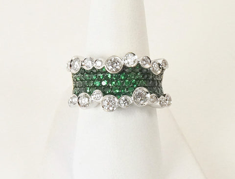 Unique emerald and diamond ring