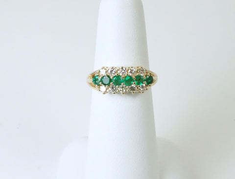 Emeralds and diamonds in yellow gold