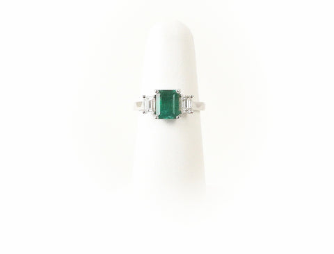 Emerald cut emerald and diamonds