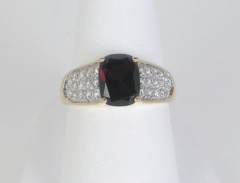Garnet and pave diamonds
