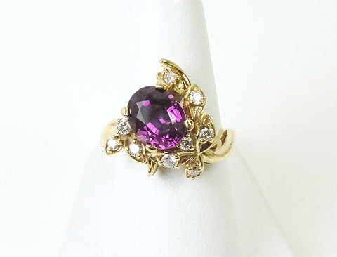 Unusual violet-colored rhodolite garnet