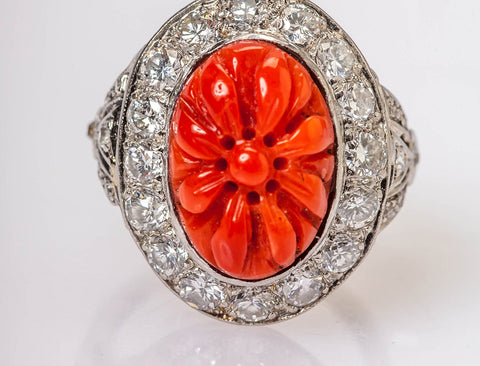 Carved Coral Flower in Platinum Ring