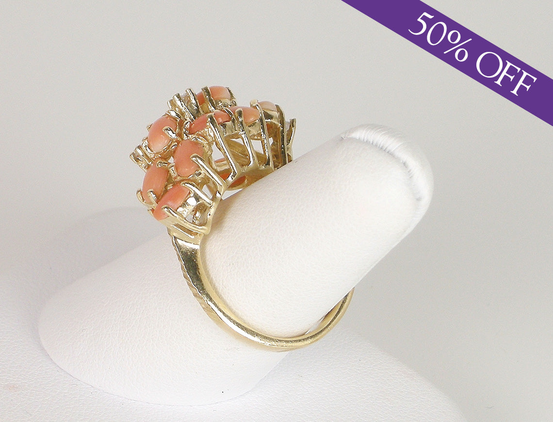 Coral and diamond ring - ORIGINAL PRICE $395