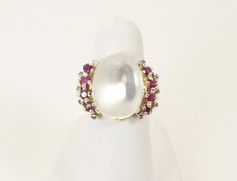 Retro moonstone and ruby ring