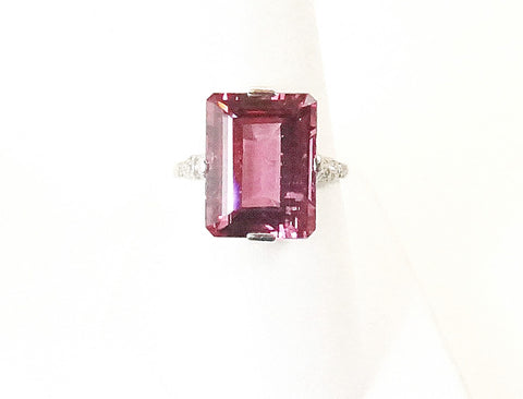 Natural pink spinel Edwardian ring
