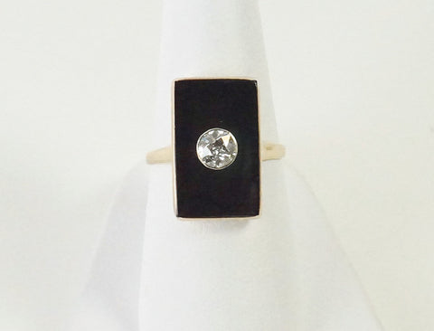 Vintage onyx and diamond ring
