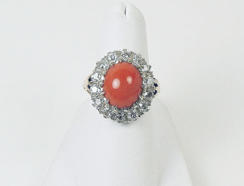 Antique coral and diamond ring