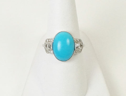 Art Deco turquoise and diamonds