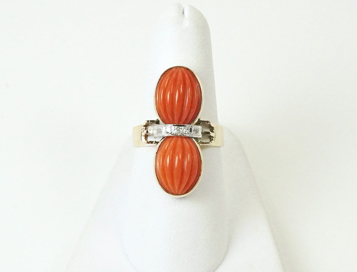 Unique double coral ring