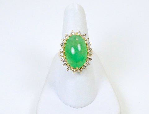 """Apple green"" jadeite cabochon ring"
