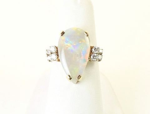 Pear shaped opal ring