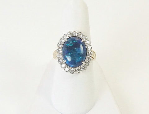 Black opal and diamonds