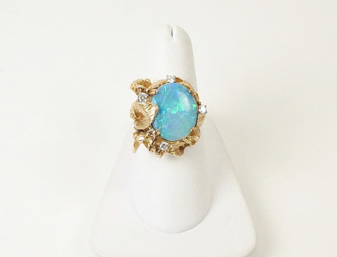 Vintage opal doublet ring