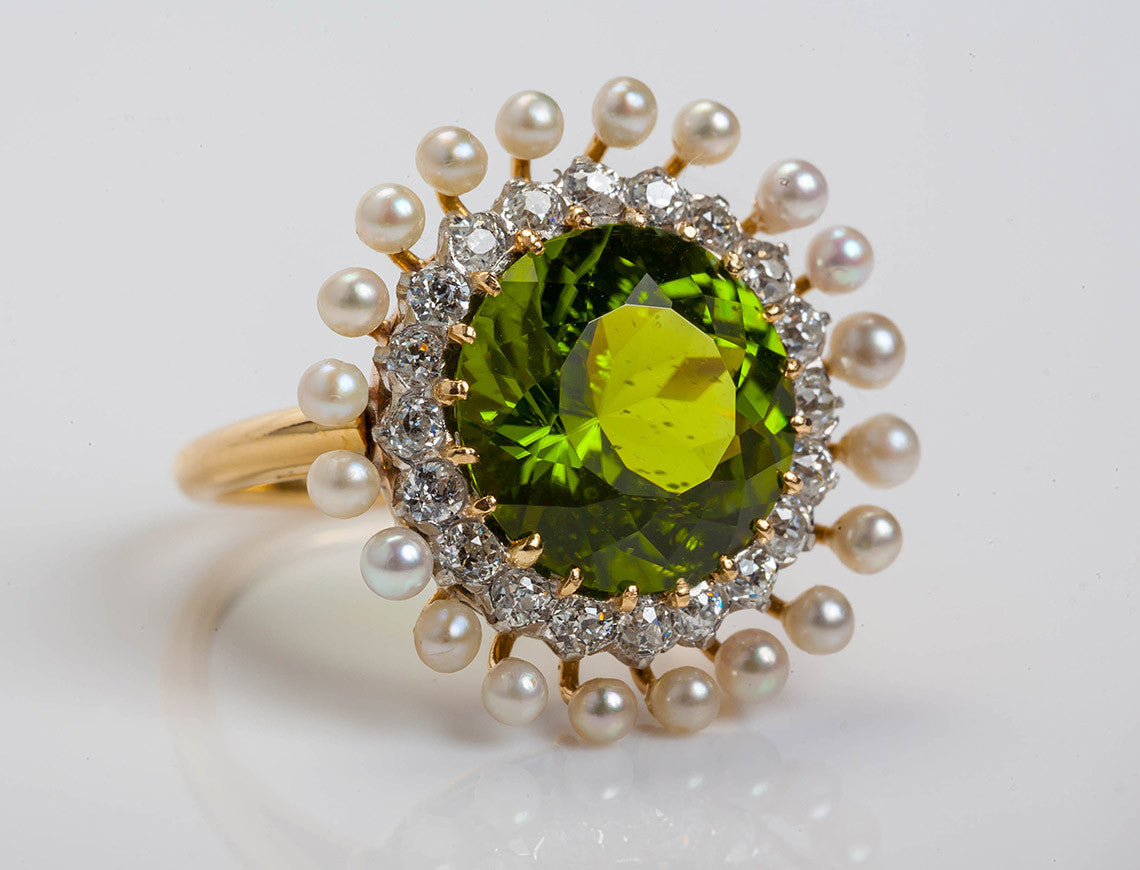 and pearl seed ring pearls peridot