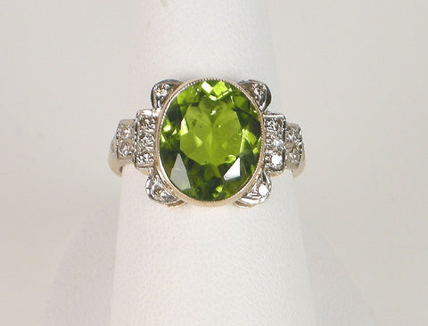 Vintage peridot and diamond ring