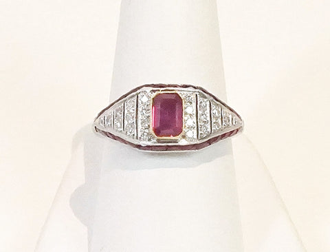 Deco-inspired ruby ring