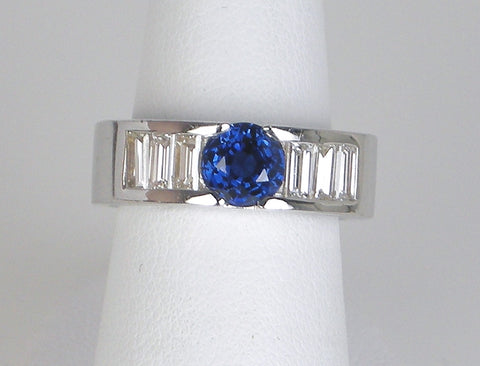 Architectural sapphire and diamond band