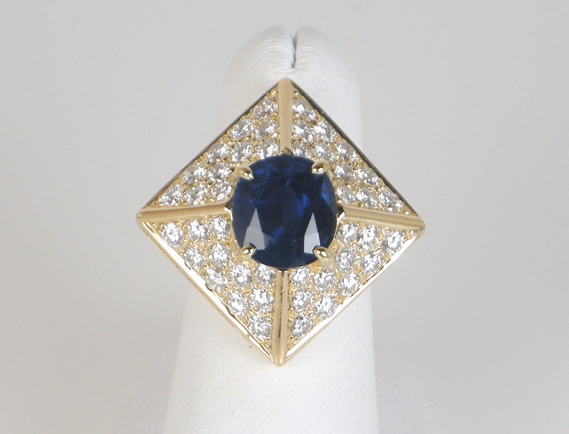 Architectural sapphire and diamond ring