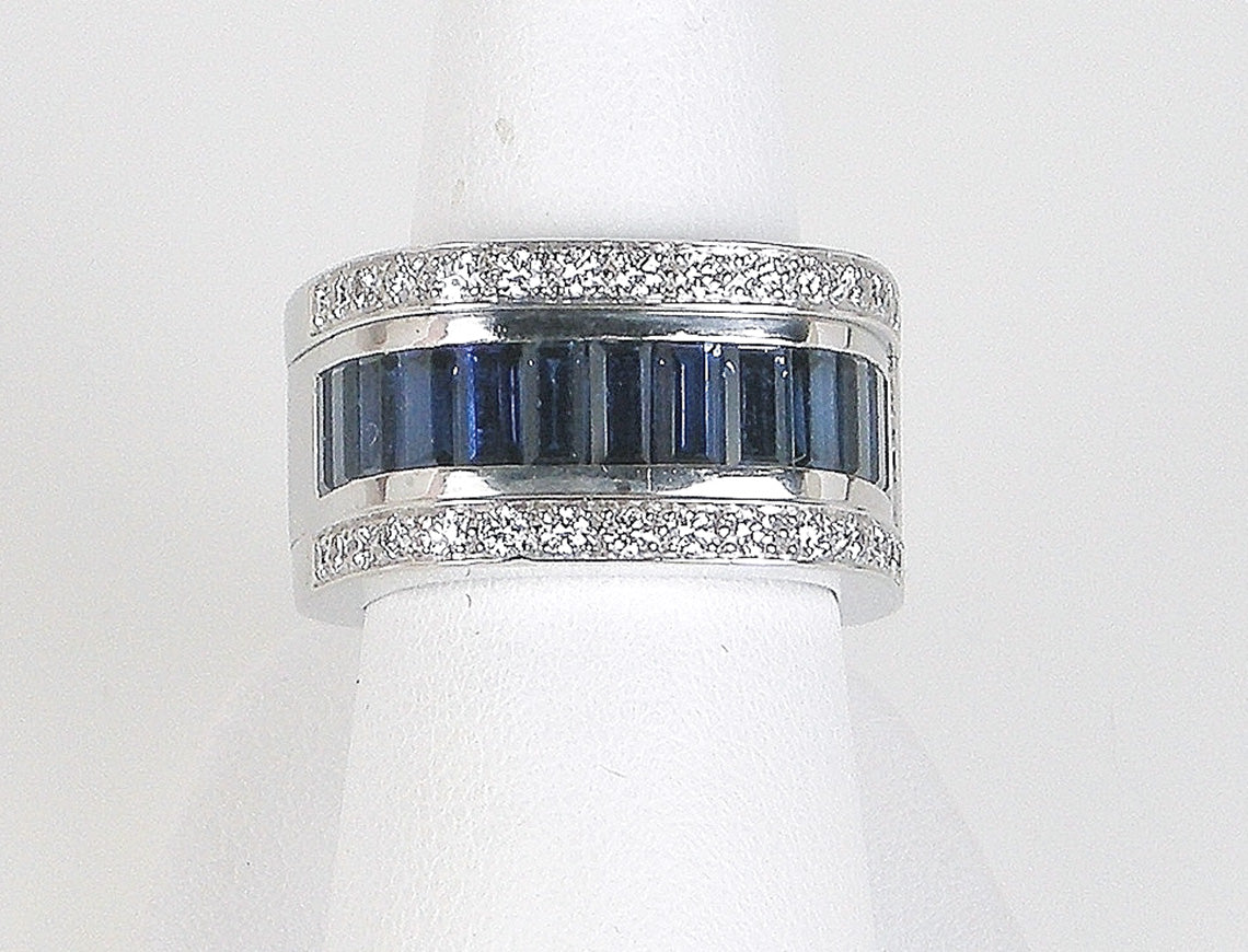 Bold sapphire and diamond band