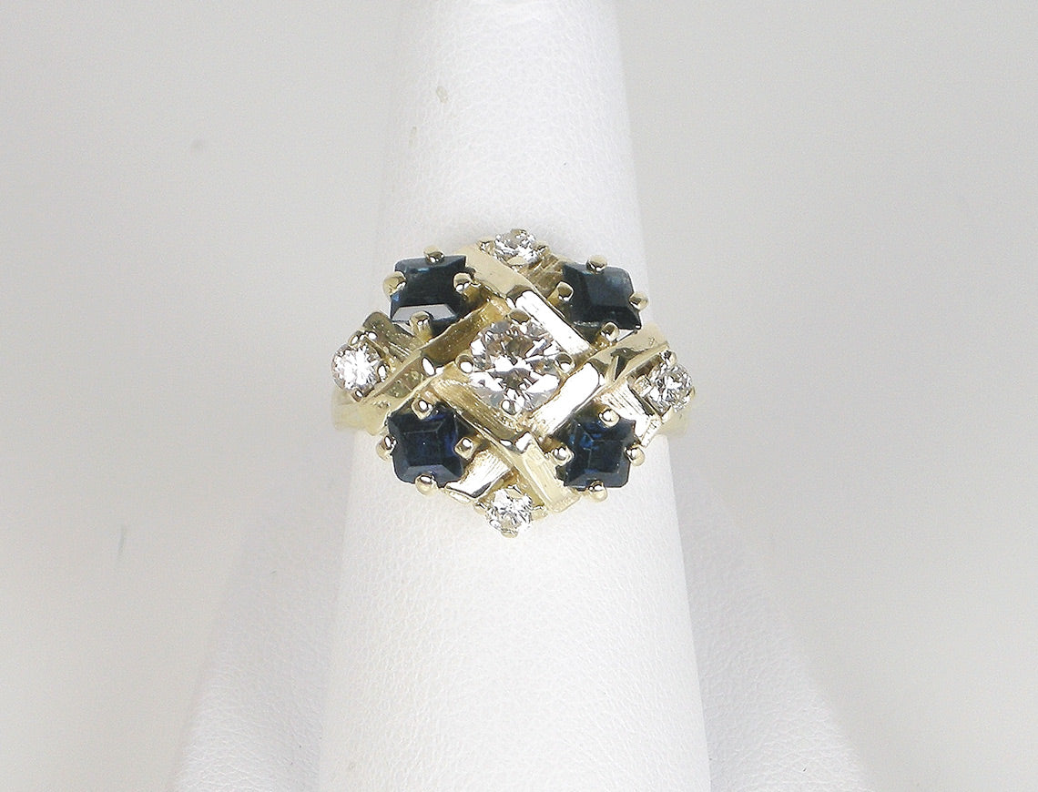 Unique geometric sapphire and diamond ring