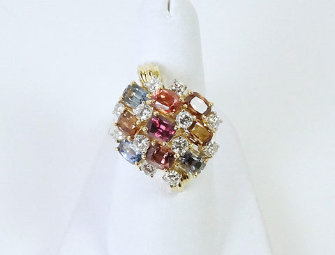 Vintage multi-colored sapphire ring by Henry Dunay