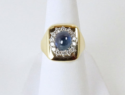 Cabochon sapphire and diamonds