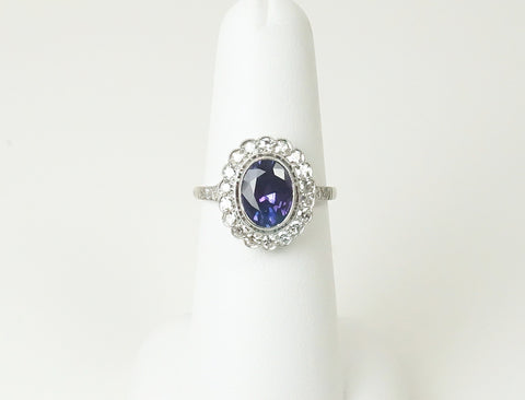 Vintage purple sapphire and diamond ring