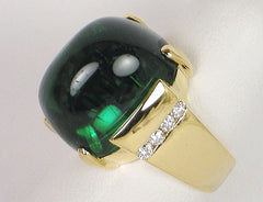 Lucious green tourmaline cabochon
