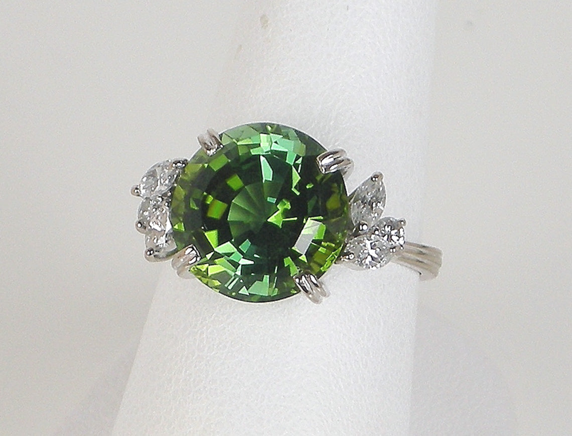 solitaire accented diamonds band engagement jewelry earth green and set rings bezel products diamond ring with setting rare cushion tourmaline tournaline gold cut