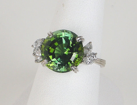 Brilliant green tourmaline ring