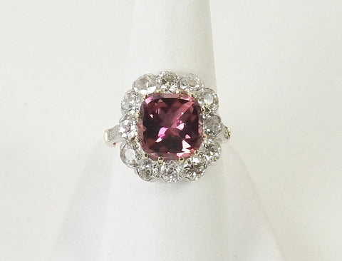 Edwardian tourmaline and diamond ring