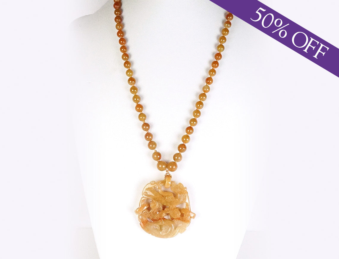 Caramel-colored jade necklace - ORIGINAL PRICE: $750