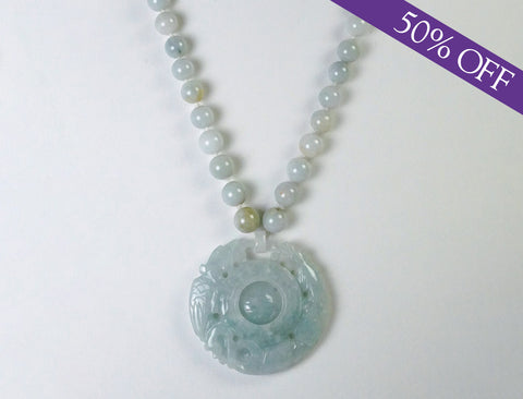 Carved jadeite necklace and pendant - ORIGINAL PRICE: $450