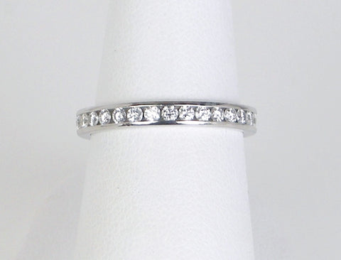 Ideal cut diamond band in platinum