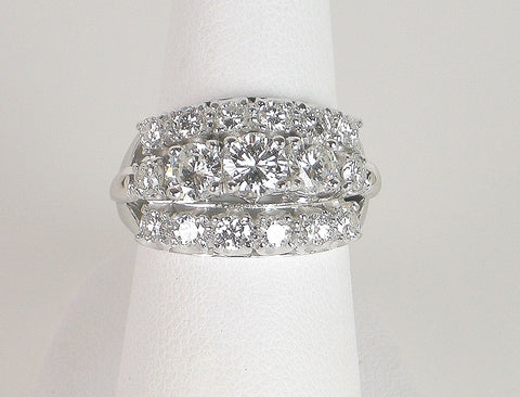 Vintage 3-row diamond ring