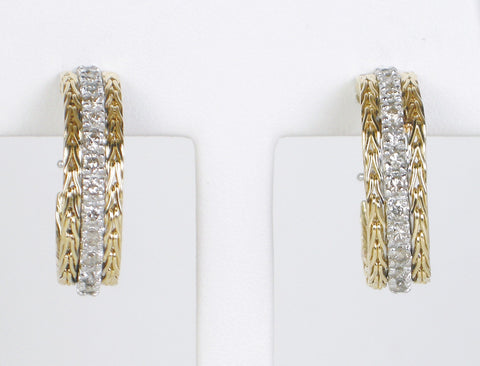 Diamond hoops of braided gold
